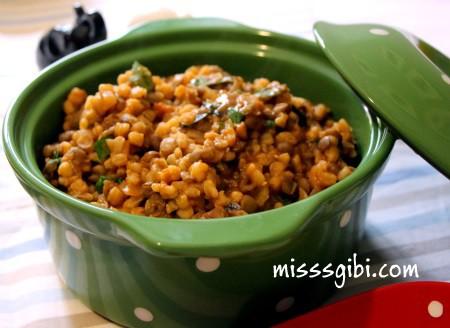 yesil mercimekli buğday pilavı