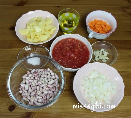 zeytinyağlı barbunya malzemeleri